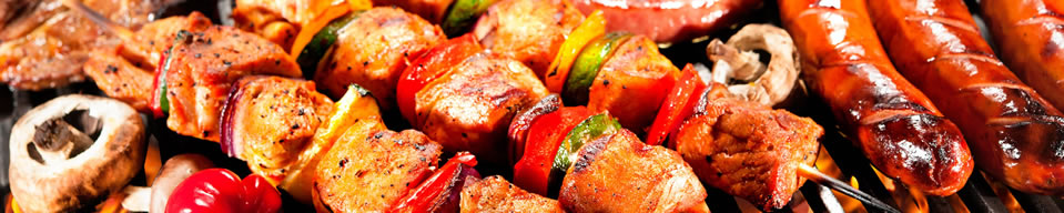 Barbecued meats and vegetables
